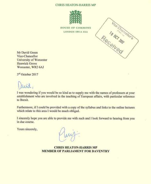 Letter to universities from Chris Heaton-Harris, Conservative MP for Daventry