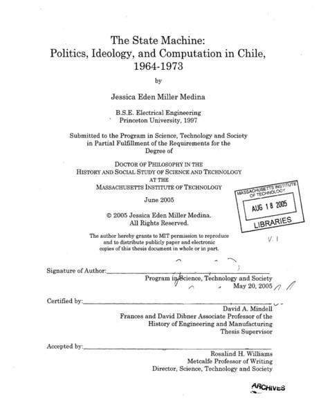Miller Medina, Jessica Eden: The State Machine: Politics, Ideology, and Computation in Chile, 1964-1973, 2005