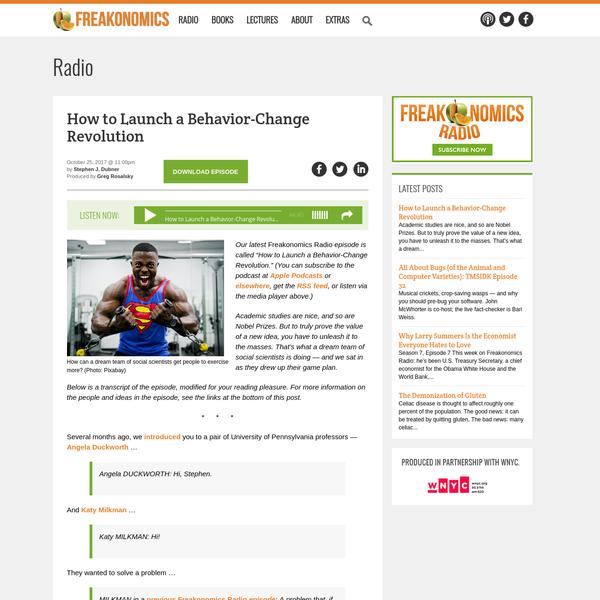 How to Launch a Behavior-Change Revolution - Freakonomics