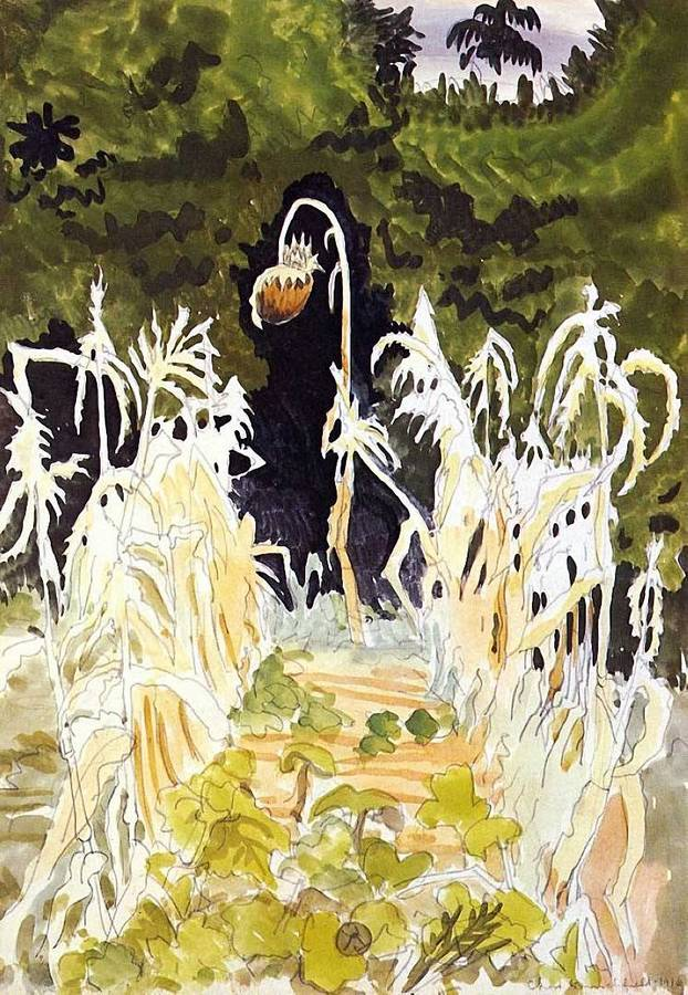 Charles Burchfield (American, 1893-196), Ghost Plants, 1916. Watercolor and pencil on paper, mounted on board, 20 x 14 in.