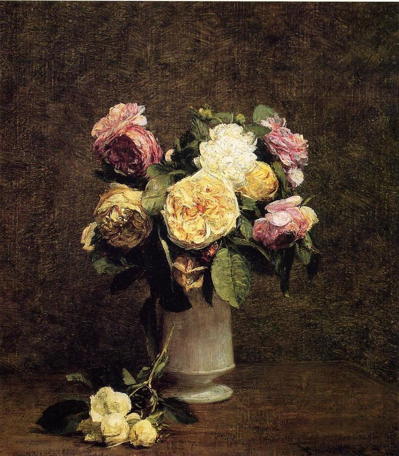 Henri Fantin-Latour - Roses in a White Porcelin Vase (1874)
