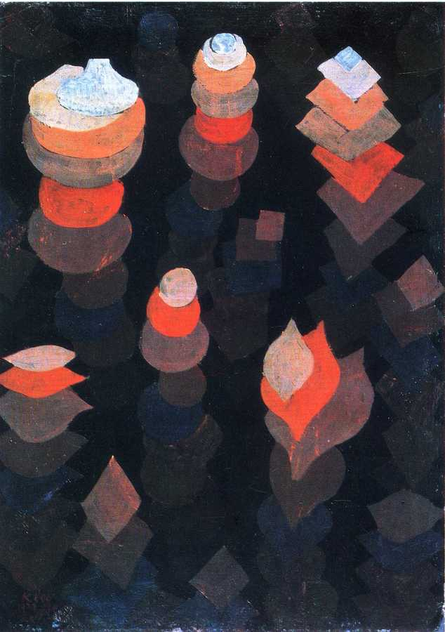 Growth of the night plants Paul Klee Date: 1922 Style: Expressionism Period: Bauhaus Genre: flower painting Media: oil, cardboard Dimensions: 47.2 x 33.9 cm Location: Neue Pinakothek, Munich, Germany