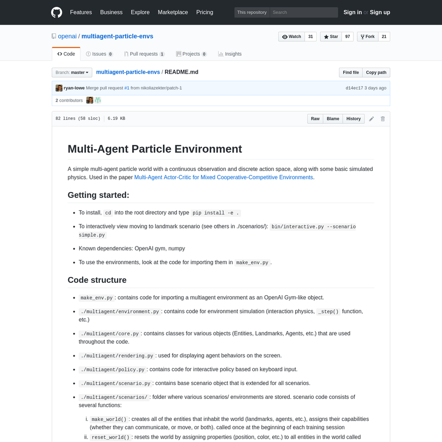 Contribute to multiagent-particle-envs development by creating an account on GitHub.