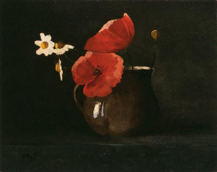 Odilon Redon - Flowers in green vase (1868)