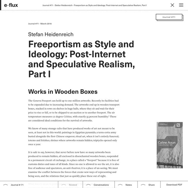 Freeportism as Style and Ideology: Post-Internet and Speculative Realism, Part I