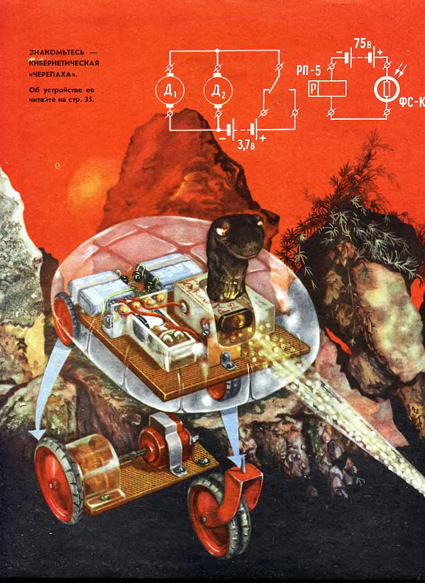 "Cover of a Soviet manual documenting the construction of the ""cybernetic tortoise,"" 1969."