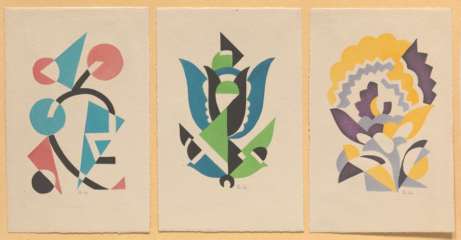 """Serge Gladky (French, 1880–1930) 5 ½"""" x 3 ¾"""" each Floral Motifs. Set of 3 French Art Deco pochoirs, each initialed S.G. in pencil by the artist lower right, from a limited edition of 500, adhered to paper backing with artist name and title inscribed, overall 8 ½"""" x 11 ½"""".  Architect, decorator and graphic artist, particularly active in the years 1920-1930, Serge Gladsky identified with the Art Deco movement inspired by his interests abstraction and geometry. In this desire for simplification, he finds a new means of graphic expression thanks to the stencil, a technique that combines with bright and shimmering colors and which becomes a real visual spectacle.  https://www.aspireauctions.com/#!/catalog/363/1986/lot/91011"""