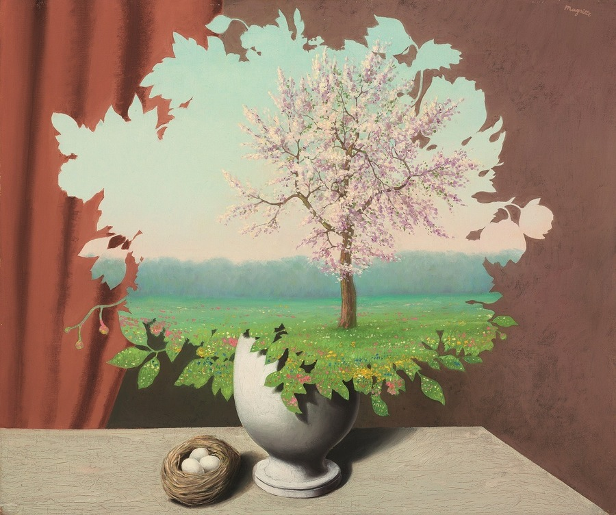 """René Magritte (1893-1983)  Le plagiat (Plagiary)  signed 'Magritte' (upper right); titled """"LE PLAGIAT"""" (on the reverse) oil on canvas  21¼ x 25½ in. (54 x 65 cm.)  Painted in 1940"""