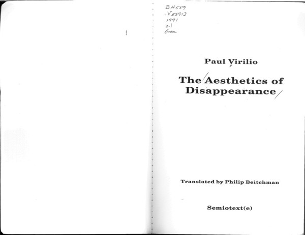 Virilio, Paul_The Aesthetics of Disappearance (1991)
