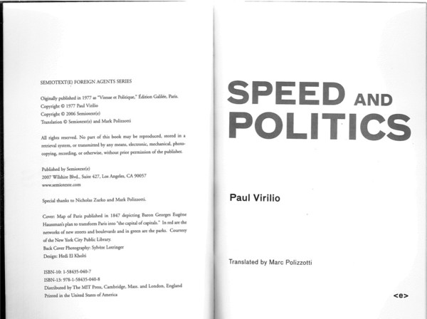 Virilio, Paul_Speed and Politics (1977)