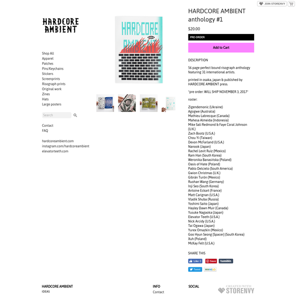 56 page perfect bound risograph anthology featuring 31 international artists. printed in osaka, japan & published by HARDCORE AMBIENT press. *pre order: WILL SHIP NOVEMBER 3, 2017* roster: Zigendemonic (Ukraine) Agogwe (Australia) Mathieu Labrecque (Canada) Mahesa Almeida (Indonesi - Online Store Powered by Storenvy