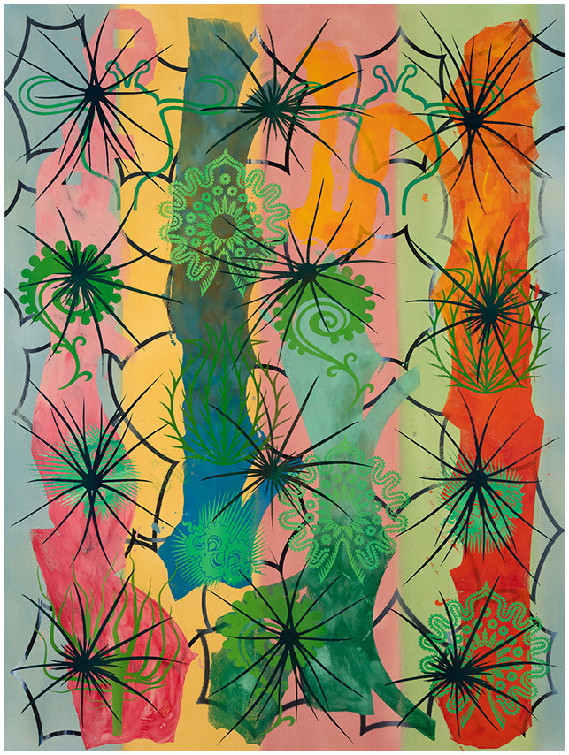 Philip Taaffe (American, b. 1955), Cactus Garden, 2016. Mixed media on canvas, 80 x 60 in.