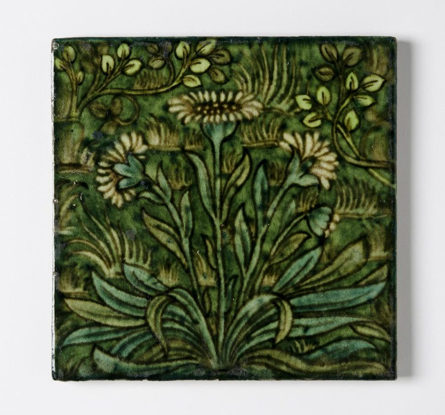 Tile  William Frend de Morgan, English, 1839 - 1907. Made at Sands End Pottery, Fulham, London, 1888 - 1907.  Geography: Made in Fulham, London, England, Europe Date: c. 1895 Medium: Glazed earthenware Dimensions: 6 x 6 inches (15.2 x 15.2 cm)  http://www.philamuseum.org/collections/permanent/181198.html?mulR=1854194731|2