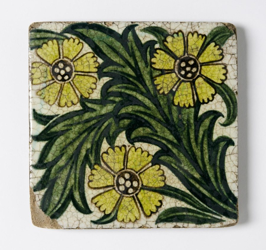 Tile  William Frend de Morgan, English, 1839 - 1907. Made at Sands End Pottery, Fulham, London, 1888 - 1907.  Geography: Made in Fulham, London, England, Europe Date: c. 1895 Medium: Glazed earthenware Dimensions: 6 x 6 inches (15.2 x 15.2 cm)  http://www.philamuseum.org/collections/permanent/181204.html?mulR=1854194731|3#