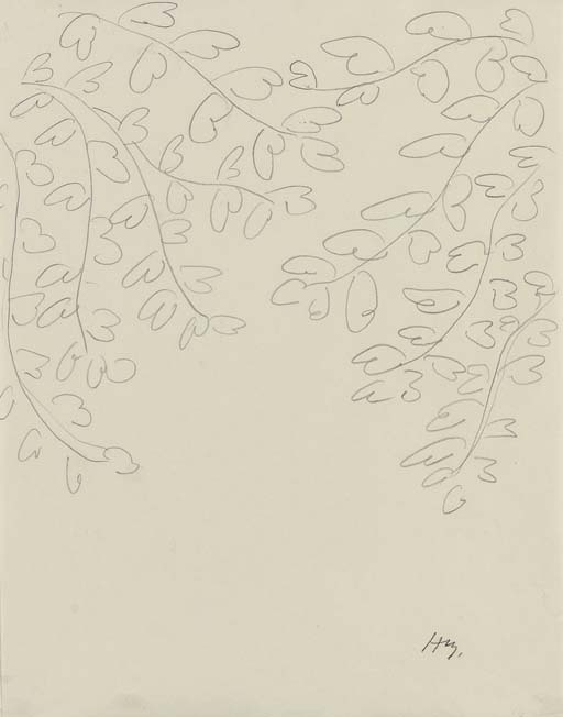 Henri Matisse (1869-1954)  Feuilles  signed with the initials 'HM.' (lower right)  pencil on paper  10 5/8 x 8¼ in. (26.9 x 21 cm.)   http://www.christies.com/lotfinder/lot_details.aspx?intObjectID=4932901&lid=1