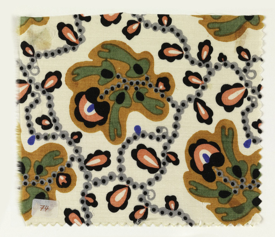 Carl Krenke, textile sample Monte Carlo, 1910-12. Made for Wiener Werkstätte, Vienna.  Perfect summary about the Wiener Werkstätte, if you need to know more about the austrian design movement: Cooper Hewitt