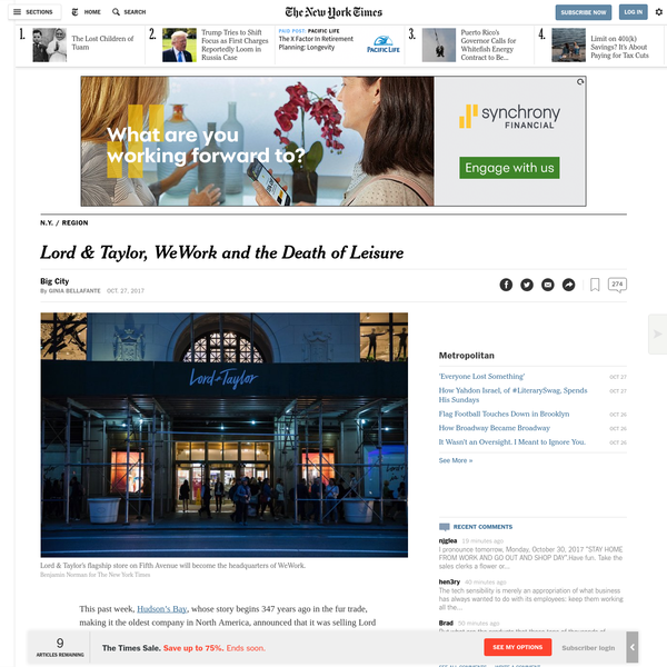Lord & Taylor, WeWork and the Death of Leisure