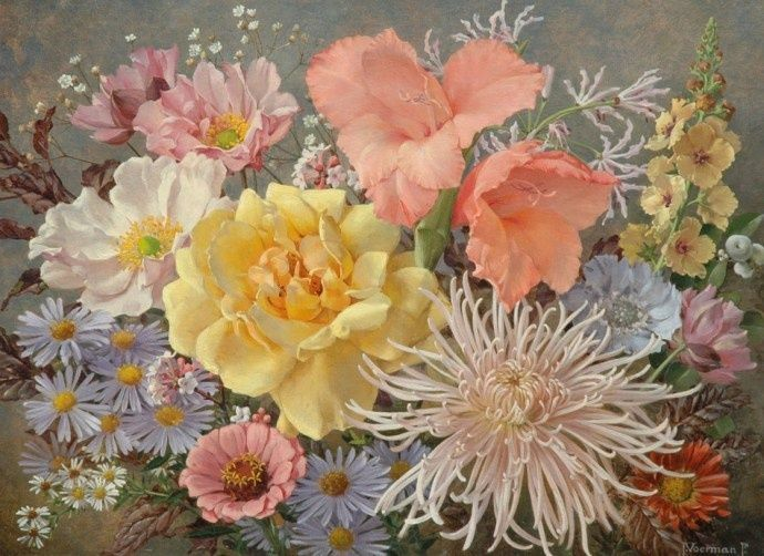 Jan Voerman jun. (Dutch, 1890-1976).  Flowers, oil on canvas, 35 x 44 cm.