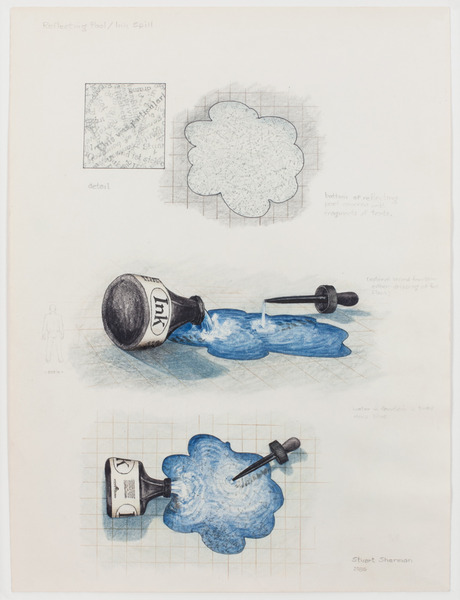 2013.06 Stuart Sherman : Proposed Sculptural Projects..., Reflecting Pool / Ink Spill, 1986