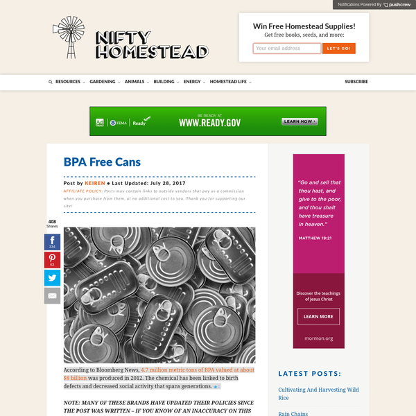 BPA Free Cans * Nifty Homestead