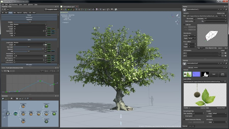 SpeedTree is a group of vegetation programming and modeling software products developed and sold by Interactive Data Visualization, Inc. (IDV) that generates virtual foliage for animations, architecture and in real time for video games and demanding real time simulations.  Source: https://store.speedtree.com/