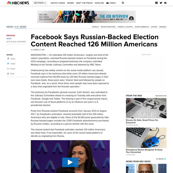 Facebook: Russian-backed election content reached 126 million Americans