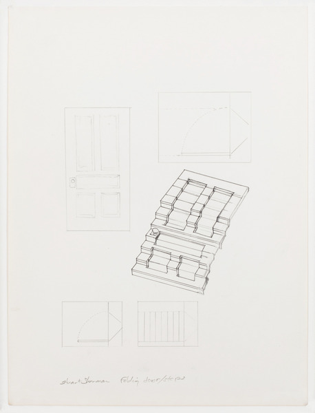 2013.06 Stuart Sherman : Proposed Sculptural Projects..., unfinished drawing (folding door/steps), c. 1985-1989