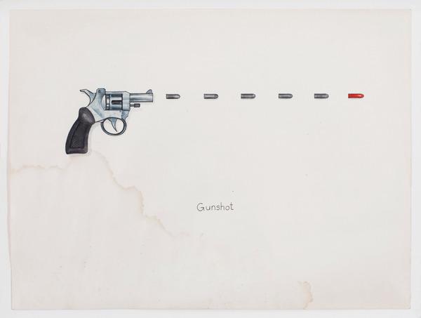 2013.06 Stuart Sherman : Proposed Sculptural Projects..., Gunshot, c. 1985-1989