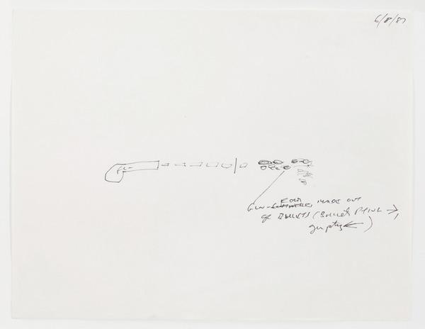 "2013.06 Stuart Sherman : Proposed Sculptural Projects..., sketch for ""Gunshot"" by Stuart Sherman, 1987"