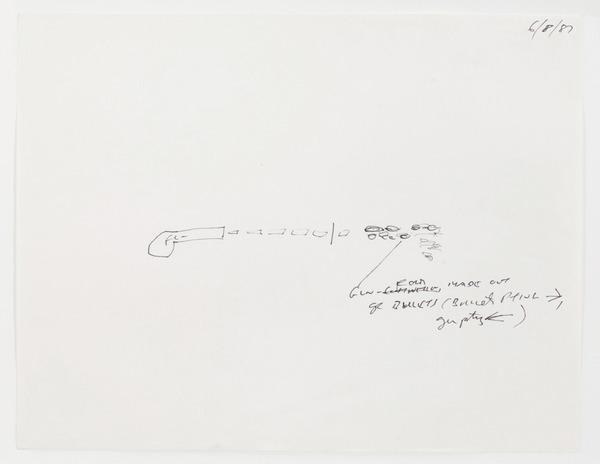 "2013.06 Stuart Sherman : Proposed Sculptural Projects..., sketch for ""Gunshot"" by Stuart Sherman, 1987"