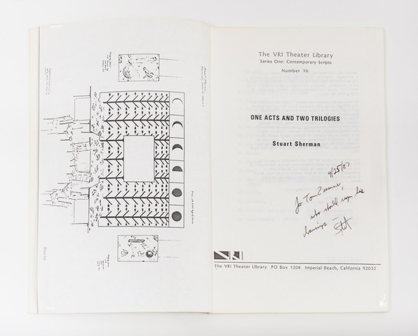 "2013.06 Stuart Sherman : Proposed Sculptural Projects..., A copy of ""One Acts and Two Trilogies"" by Stuart Sherman inscribed to Thomas Zummer on April 25, 1987"