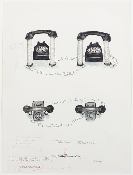 2013.06 Stuart Sherman : Proposed Sculptural Projects..., Conversation (working sketch), c. 1985-1989