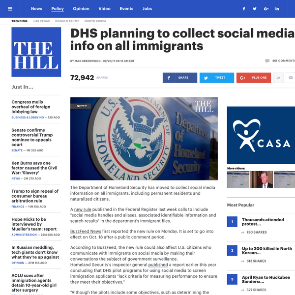 DHS planning to collect social media info on all immigrants