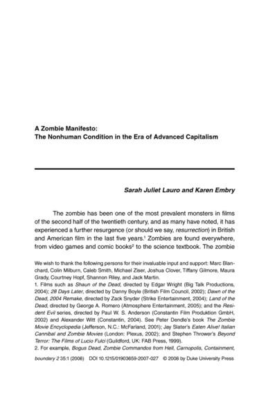 A Zombie Manifesto: The Nonhuman Condition in the Era of Advanced Capitalism