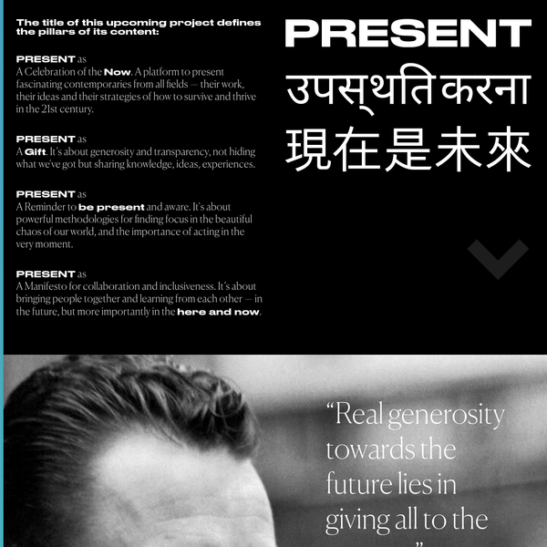 """Hugo Hoppmann, [present.xxx](http://present.xxx), 2017.  This site and the clothing it sells use the Devanagari and traditional Chinese scripts, along with English text. The Chinese in the top graphic says """"the present is the future"""" (現在是未來 *xiànzài shì wèilái*); I don't know about the Devanagari. [On Twitter](https://twitter.com/HugoHoppmann/status/921784365641760769), Hoppmann defended his use of foreign scripts by saying he aims for """"inclusiveness and universal reach"""", but selecting two arbitrary scripts that you don't know implicitly excludes all the others, and providing no content beyond short slogans in these selected scripts only presents the writing as exotic forms without being more inclusive.   via Desmond Wong"""