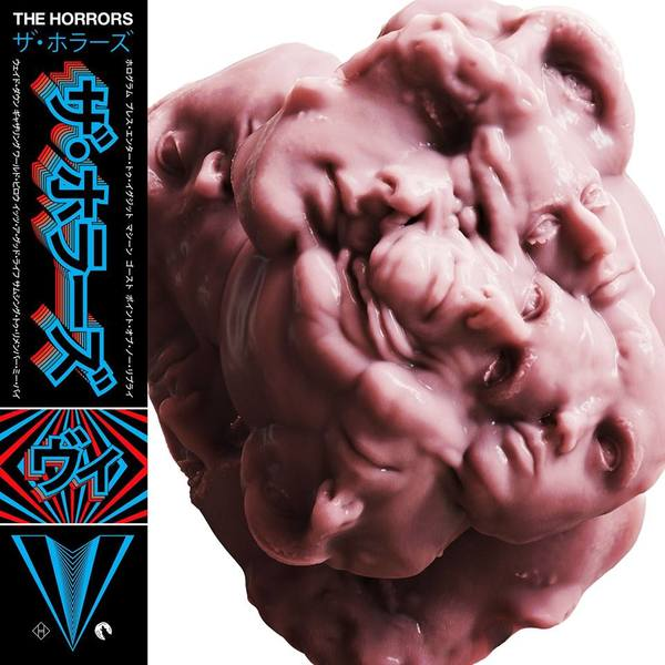 Album cover for The Horrors, *V* (2017).   The text area to the left is clearly meant to simulate a Japanese obi strip—which is strange, given that the artwork is off center to accommodate for it. The Japanese text says the band name in katakana twice (ザ.ホラーズ *Za Horāzu*) and the album name (ヴィ *Vi*). The small white text on the sides is a tracklist in katakana. The vertical text is jarring, because proper Japanese typographic custom would set the characters right side up instead of setting them horizontally then turning them 90 degrees sideways.