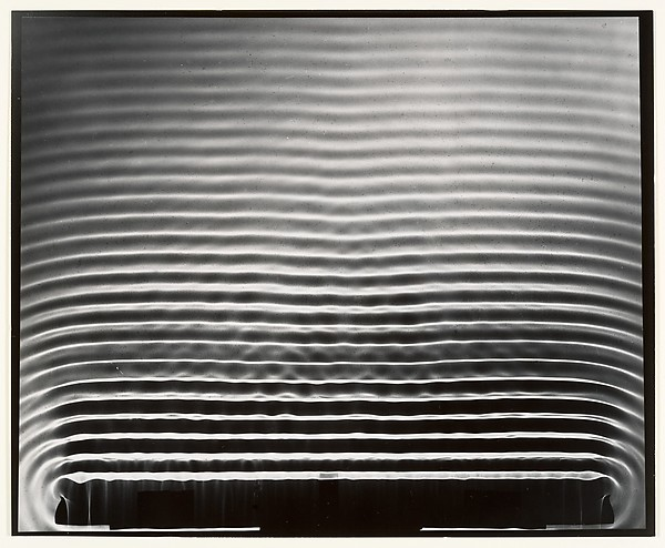 [Periodic Straight Waves]  Artist:Berenice Abbott (American, Springfield, Ohio 1898–1991 Monson, Maine) Date:1950s Medium:Gelatin silver print Dimensions:17.7 x 21.6 cm. (7 x 8 1/2 in.)  https://www.metmuseum.org/art/collection/search/265861?sortBy=Relevance&who=Abbott%2c+Berenice%24Berenice+Abbott&ft=*&offset=100&rpp=100&pos=167