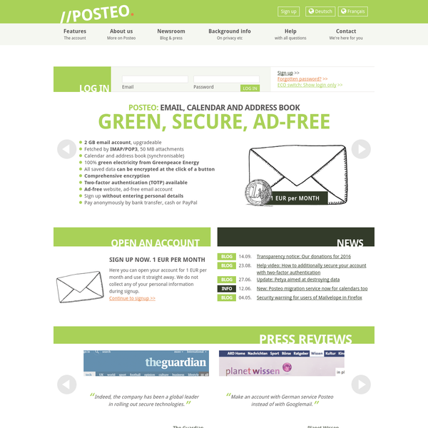 Posteo is an innovative email provider that is concerned with sustainability and privacy and is completely ad-free. Our email accounts, calendars and address books can be synchronised - we use comprehensive encryption.