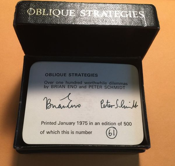 Oblique Strategies by Brian Eno and Peter Schmidt (~$2,499)