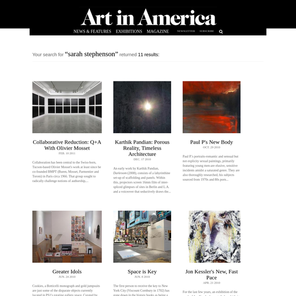 "Search Results For ""sarah stephenson"" - Art in America"
