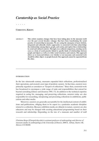 Christina Kreps – Curatorship as Social Practice – 2003