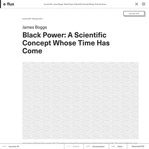 Black Power: A Scientific Concept Whose Time Has Come