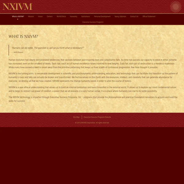 Keith Raniere and Nancy Salzman founded NXIVM. Together they have perfected their executive success programs, which will assist you in unlocking human potential. Browse our Executive Success Programs at NXIVM.
