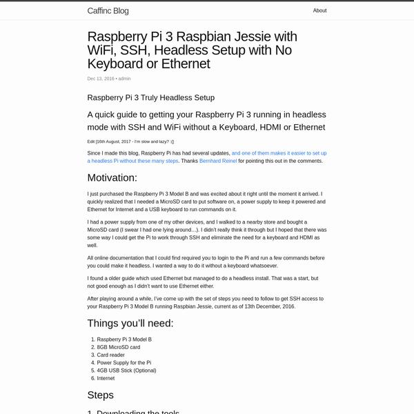 Raspberry Pi 3 Raspbian Jessie with WiFi, SSH, Headless Setup with No Keyboard or Ethernet