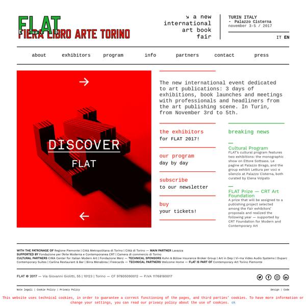 A new international art book fair - 3-5 NOVEMBER 2017 | Palazzo Cisterna | TURIN, Italy - FLAT © 2017