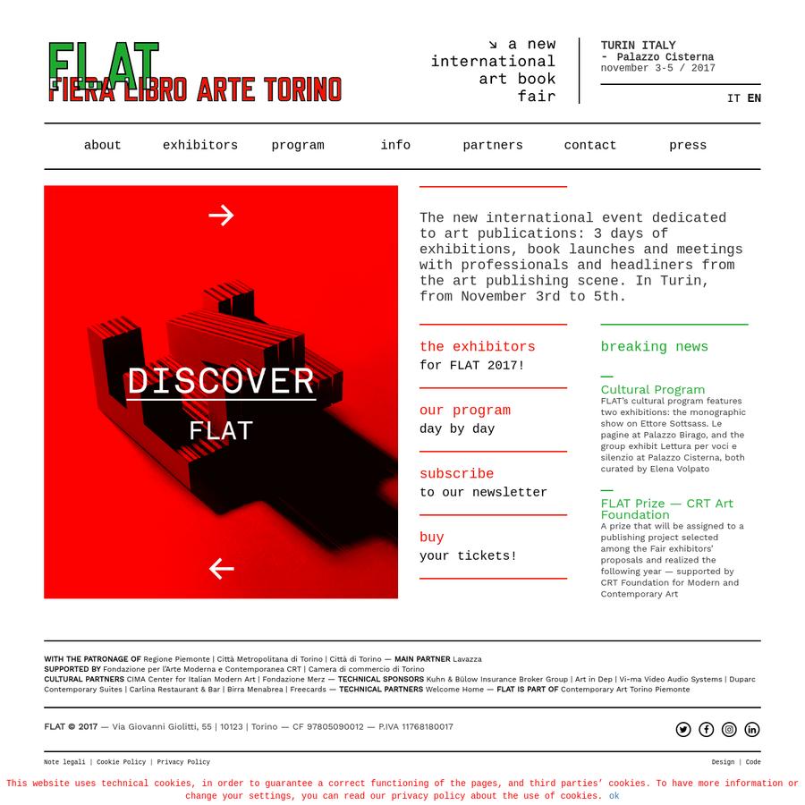 A new international art book fair - 3-5 NOVEMBER 2017   Palazzo Cisterna   TURIN, Italy - FLAT © 2017