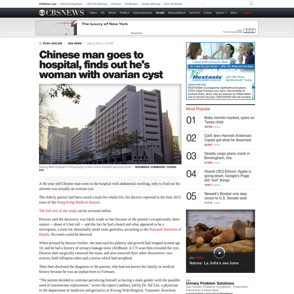 Elderly Chinese man goes to hospital, finds out he's female
