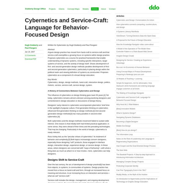 Cybernetics and Service-Craft: Language for Behavior-Focused Design