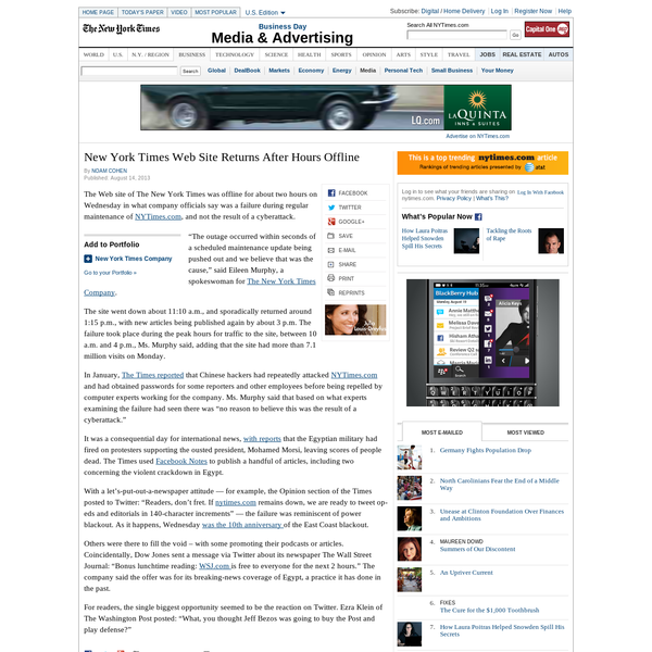 New York Times Web Site Returns After Hours Offline