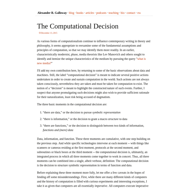 The Computational Decision